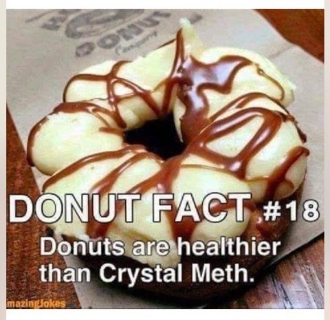 donuts fact #18: donuts are healthier than crystal meth